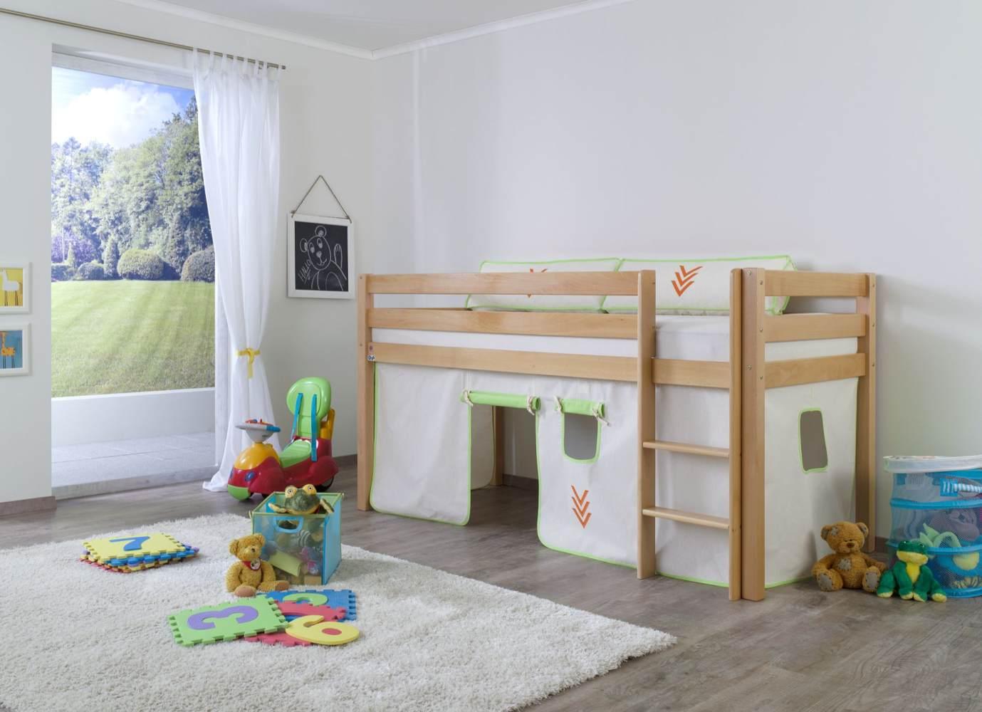 Halbhohes Spielbett ALEX Buche massiv natur lackiert mit Stoffset Vorhang Bild 1