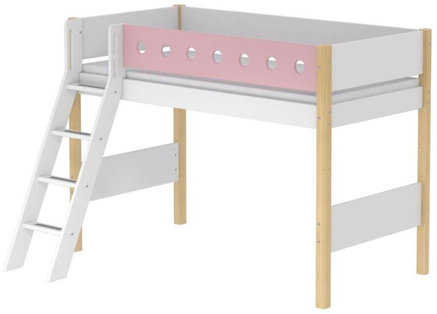 Flexa 'White' Halbhochbett weiß/natur/rosa, schräge Leiter, 90x200cm Bild 1