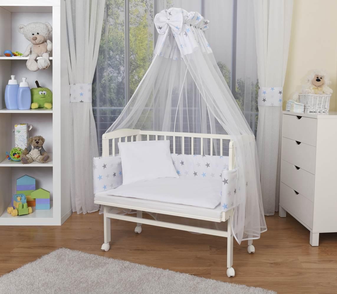WALDIN Beistellbett mit Matratze und Nestchen, höhenverstellbar, Ausstattung Sterne-grau/blau, Gestell Weiß lackiert Bild 1