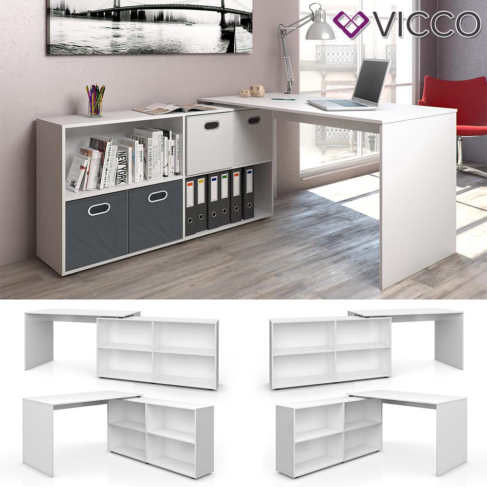 Vicco 'FlexPlus' Eckschreibtisch, Weiß, mit Sideboard Bild 1
