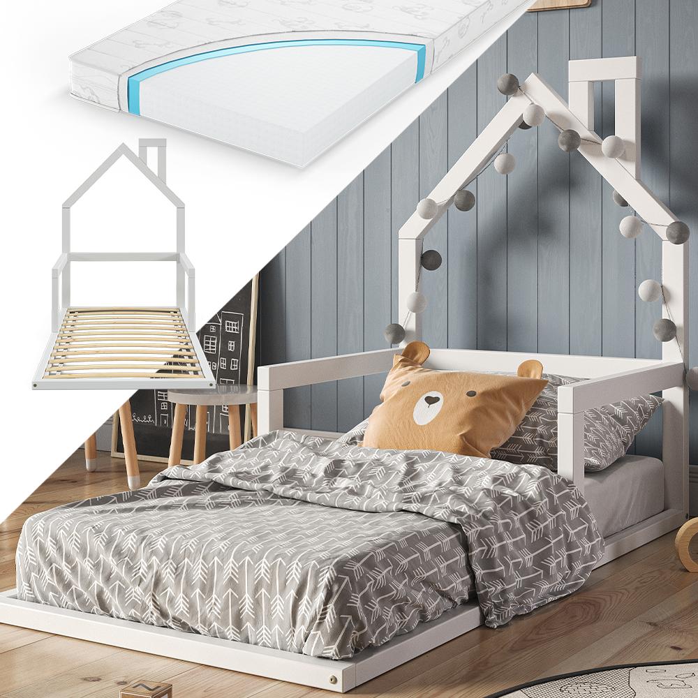 VitaliSpa 'Ricca' Hausbett 80x160, weiß, Kiefer massiv, inkl Lattenrost und Matratze Bild 1