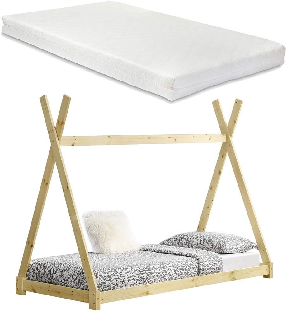 [en.casa] Tipi-Bett Natur 90x200 cm, inkl. Lattenrost und Matratze Bild 1