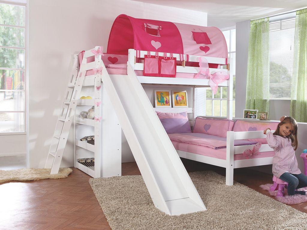 Relita 'SKY' Etagenbett mit Rutsche weiß, Stoffset 'Pink/Herz' mit 2 Matratzen Bild 1