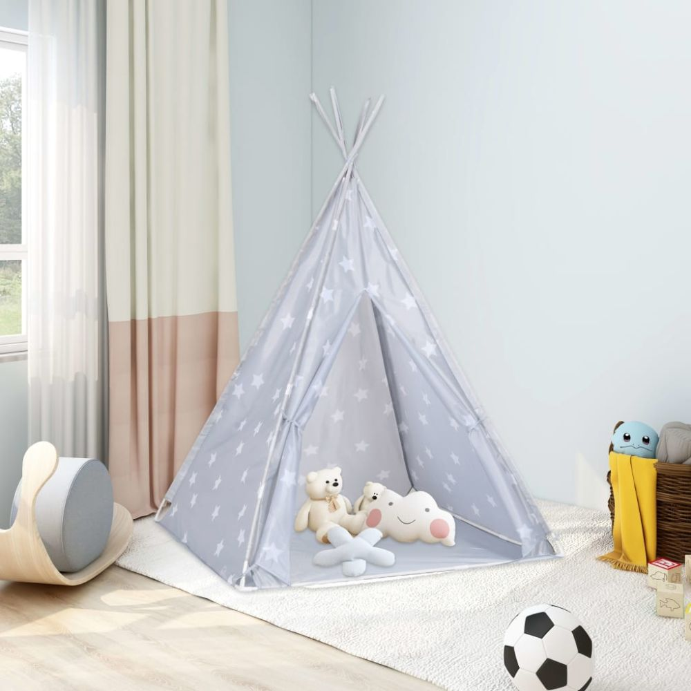 vidaXL Kinder Tipi-Zelt mit Tasche Polyester Grau 115x115x160 cm Bild 1