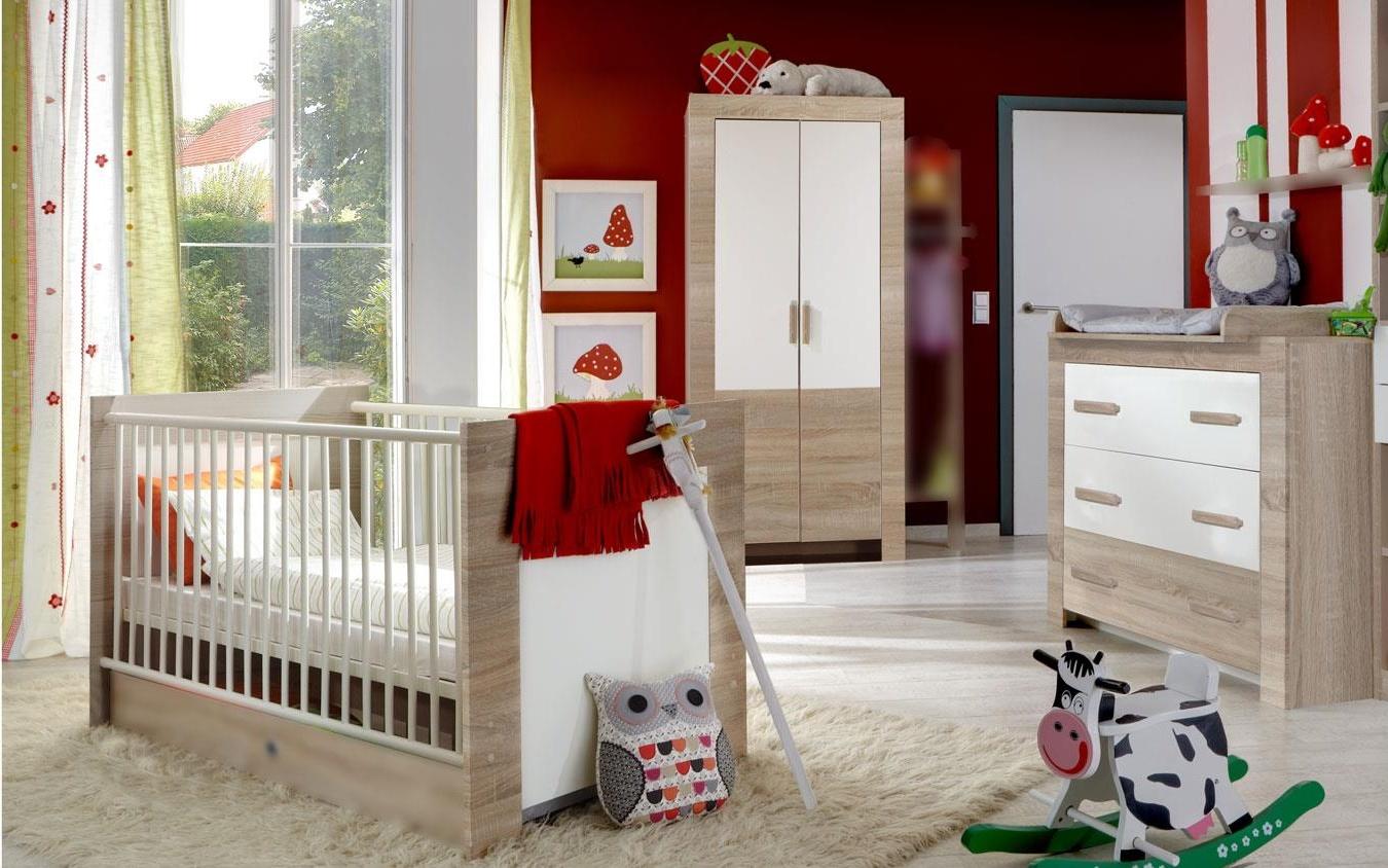 Wimex 'EMILY' 3-tlg. Babyzimmer-Set eiche sägerau/weiß Bild 1