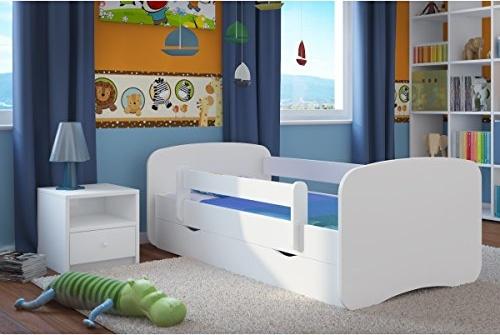 Kocot Kids Kinderbett 80 x 160 cm weiß mit Rausfallschutz, Schublade und Lattenrost Bild 1