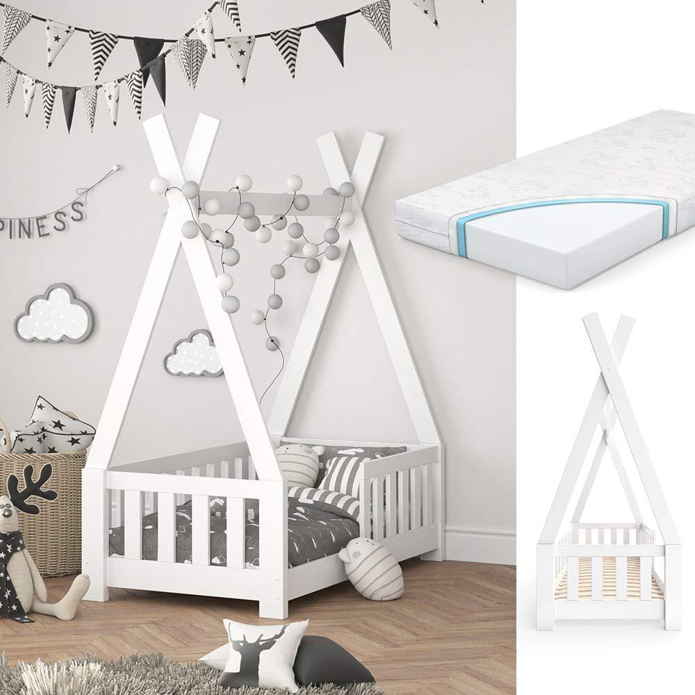 VitaliSpa 'Tipi' Kinderbett, Weiß, 70 x 140 cm, inkl. Matratze, Rausfallschutz und Lattenrost, Buche massiv Bild 1