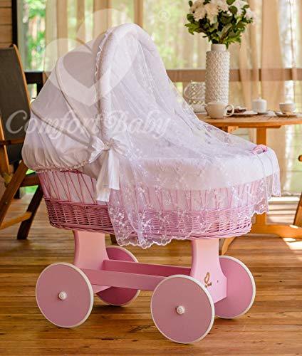 ComfortBaby 'Snugly' Stubenwagen inkl. Ausstattung und Moskitonetz rosa/weiß Bild 1