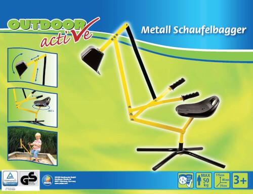 Outdoor Active - Metall Schaufelbagger gelb/schwarz, TÜV/GS Bild 1