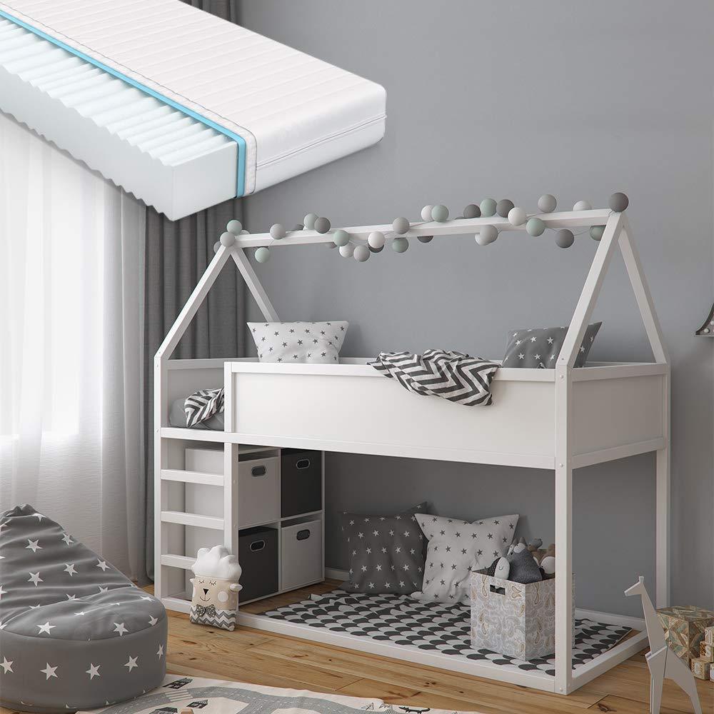 VitaliSpa 'Pinocchio' Haus-Hochbett, Weiß, inkl. Matratze und Lattenrost, 90x200 cm, Erle massiv Bild 1