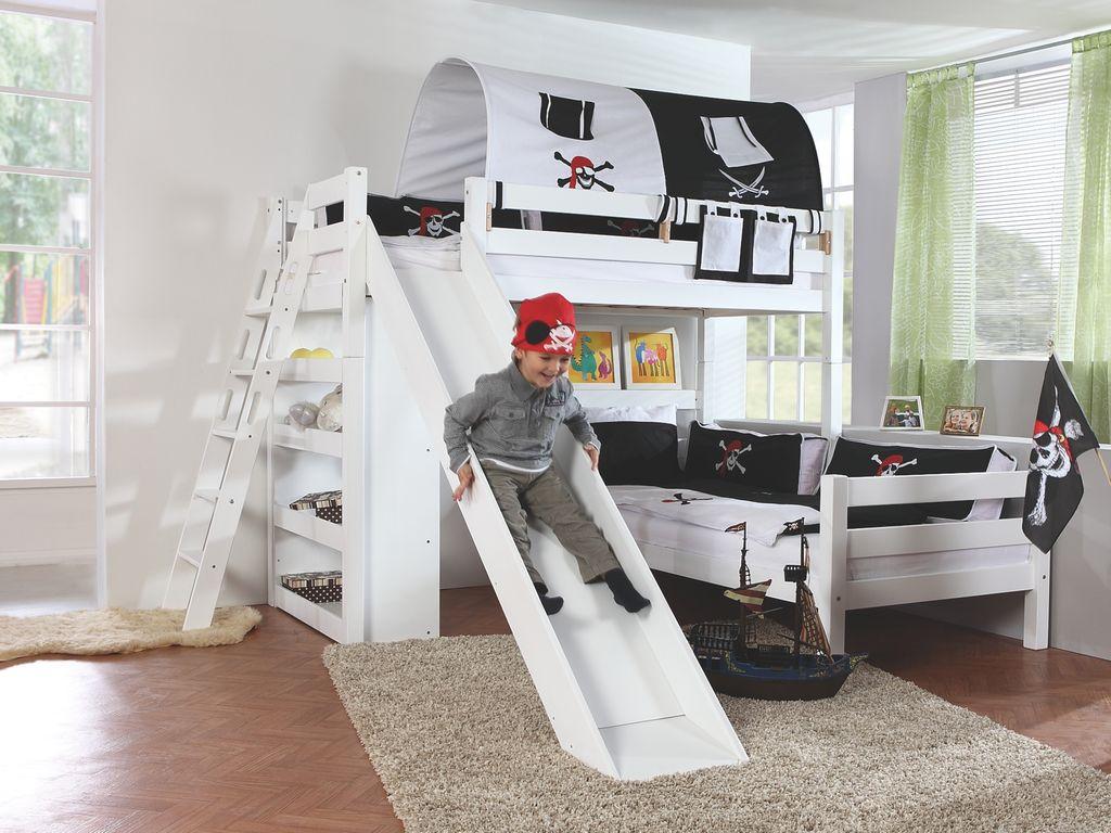 Relita 'SKY' Etagenbett Kinderbett mit Rutsche weiß, Stoffset 'Pirat' inkl. 2 Matratzen Bild 1