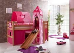 Spielbett Eliyas mit Rutsche und Textilset Vorhang, 1-er Tunnel, Turm und Tasche
