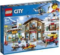 LEGO 60203 City – Ski Resort mit Hubschrauber, Schneepflug, Schneemobil und 2 Gebäuden, Winter-Set