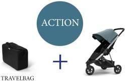 Thule Spring Buggy mit Reisetasche Teal Melange Aluminium