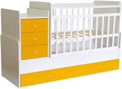 Polini Kids 'Simple 1100' Kombi-Kinderbett 60 x 120/170 cm, weiß/gelb, höhenverstellbar, mit Schaukelfunktion, inkl. Kommode