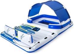 Bestway Hydro-Force 'Tropical Breeze' Badeinsel, 373 x 264 x 73 cm, geeignet für 6 Personen, inkl. abnehmbaren Sonnenschutz, Getränkehaltern und integrierter Kühltasche