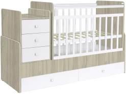 Polini Kids 'Simple 1100' Kombi-Kinderbett 60 x 120/170 cm, ulme/weiß, höhenverstellbar, mit Schaukelfunktion, inkl. Kommode