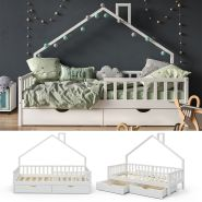 VitaliSpa 'Noemi' Hausbett weiß, 90x200cm, Massivholz Kiefer, inkl. 2x Schubladen, Lattenrost und Rausfallschutz