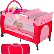 tectake 'Hund' Reisebett, Pink, höhenverstellbar, mit Schlupf, inkl. Wickelauflage und Spielbogen