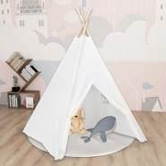 vidaXL Kinder Tipi-Zelt mit Tasche Pfirsichhaut Weiß 120x120x150 cm