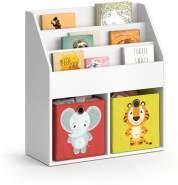 Vicco 'LUIGI' Kinderregal, weiß, mit 3 Fächern für Bücher und 2 Fächern für Faltboxen