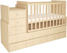 Polini Kids 'Simple 1100' Kombi-Kinderbett 60 x 120/170 cm, natur, höhenverstellbar, mit Schaukelfunktion, inkl. Kommode