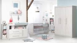 Roba 'Maren 2' 3-tlg. Babyzimmer-Set, weiß/lichtgrau, aus Bett 70x140 cm, 3-trg. Kleiderschrank und breiter Wickelkommode