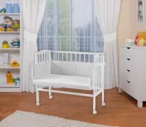 WALDIN Beistellbett mit Matratze, höhenverstellbar, Große Liegefläche, Ausstattung Punkte-grau, Gestell Weiß lackiert