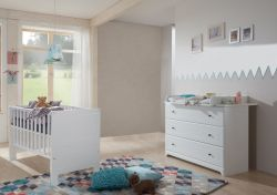Arthur Berndt 'Thilo' Babyzimmer Sparset 2-teilig, Kinderbett (70 x 140 cm) und Wickelkommode mit Wickelaufsatz MDF Weiß