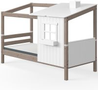 Flexa '1/2 Classic-Haus' Hausbett weiß/braun, 90x200 cm