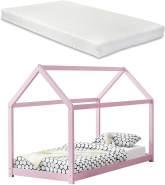 [en.casa] Hausbett mit Matratze 90x200cm rosa