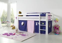 Relita Halbhohes Spielbett ALEX Buche massiv weiß lackiert mit Stoffset Kleider