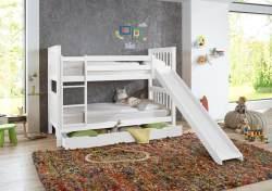 Relita 'Kick' Etagenbett 90x200 cm, weiß, mit Rutsche, inkl. Lattenroste und Bettkastenschublade