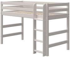 Flexa Classic Mittelhochbett mit gerader Leiter 90 x 190 cm Grau
