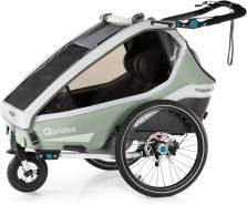 Qeridoo 'Kidgoo2 Pro' Fahrradanhänger 2020 Mint, 2-Sitzer, inkl. XXL Kofferraum, Verdeck, 360°Grad-Belüftungssystem