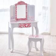 Kinderschminktisch mit Hocker 'Zebra' weiß/pink