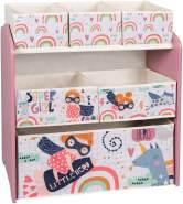 Kinderregal mit 6 Kisten aus MDF rosa