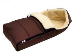 BABYLUX Winterfußsack mit Lammwolle 90 cm Braun, universell einsetzbar
