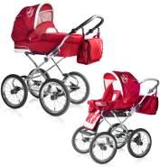 Bebebi Loving   2 in 1 Kombi Kinderwagen   Nostalgie Kinderwagen   Farbe: Red Ardent