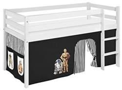 Lilokids 'Jelle' Spielbett 90 x 200 cm, Star Wars Schwarz, Kiefer massiv, mit Vorhang
