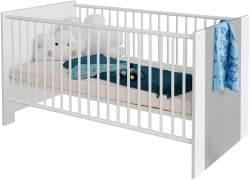 trendteam smart living Babyzimmer Babybett, Kinderbett Pia, 78 x 83 x 143 cm in Front Weiß Melamin mit Absetzungen Lichtgrau, Korpus Weiß Melamin mit Einstiegshilfe