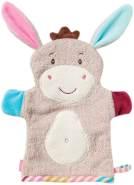 Fehn 081442 Waschhandschuh Esel – Waschlappen mit Tiermotiv für fröhlichen Badespaß, für Babys und Kinder ab 0+ Monaten