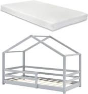 en. casa Kinderbett, 90 x 200 cm, mit Matratze und Rausfallschutz, hellgrau