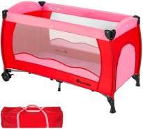 TecTake Kinderreisebett 60x120 cm, pink, mit Schlupfloch, Transporttasche und Rollen