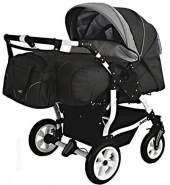 Adbor Duo Spezial Zwillingskinderwagen mit Babyschalen, Zwillingswagen, Zwillingsbuggy Farbe D-4 grau