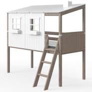 Flexa 'Classic' Halbhochbett mit Baumhausaufsatz terra/weiß