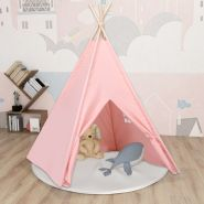 vidaXL Kinder Tipi-Zelt mit Tasche Pfirsichhaut Rosa 120x120x150 cm