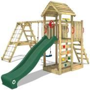 WICKEY Spielturm Klettergerüst RocketFlyer mit Schaukel & grüner Rutsche, Kletterturm mit Sandkasten, Leiter & Spiel-Zubehör
