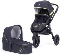 Knorr Baby Kinderwagen 2in1 'HEAD SPORT3' 2020 in Darkgrey-Yellow, inkl. Babywanne und Sportsitz