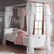 Himmelbett ANNECY-12, MDF weiß lackiert, Himmelbett und Textil-Vorhang, 90 x 200 cm
